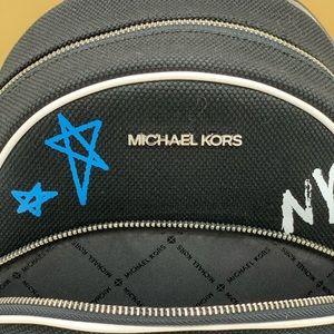 Michael Kors Bags - MICHAEL KORS GRAFFITI ABBEY MD BACKPACK BLACK MULT